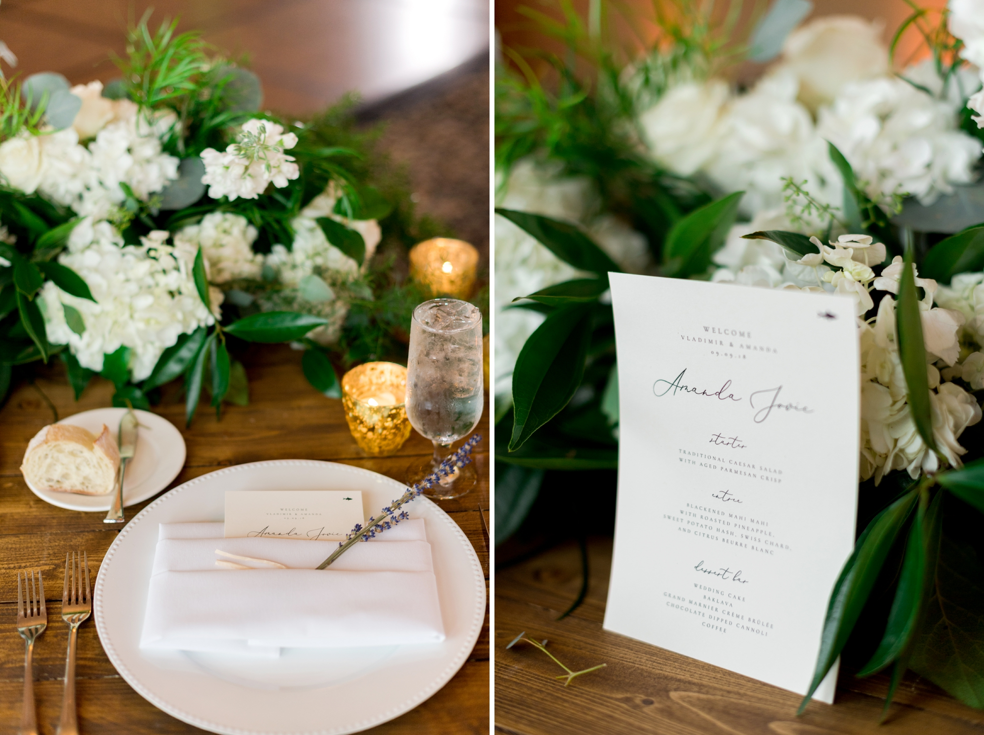 personalized menu wedding dinner