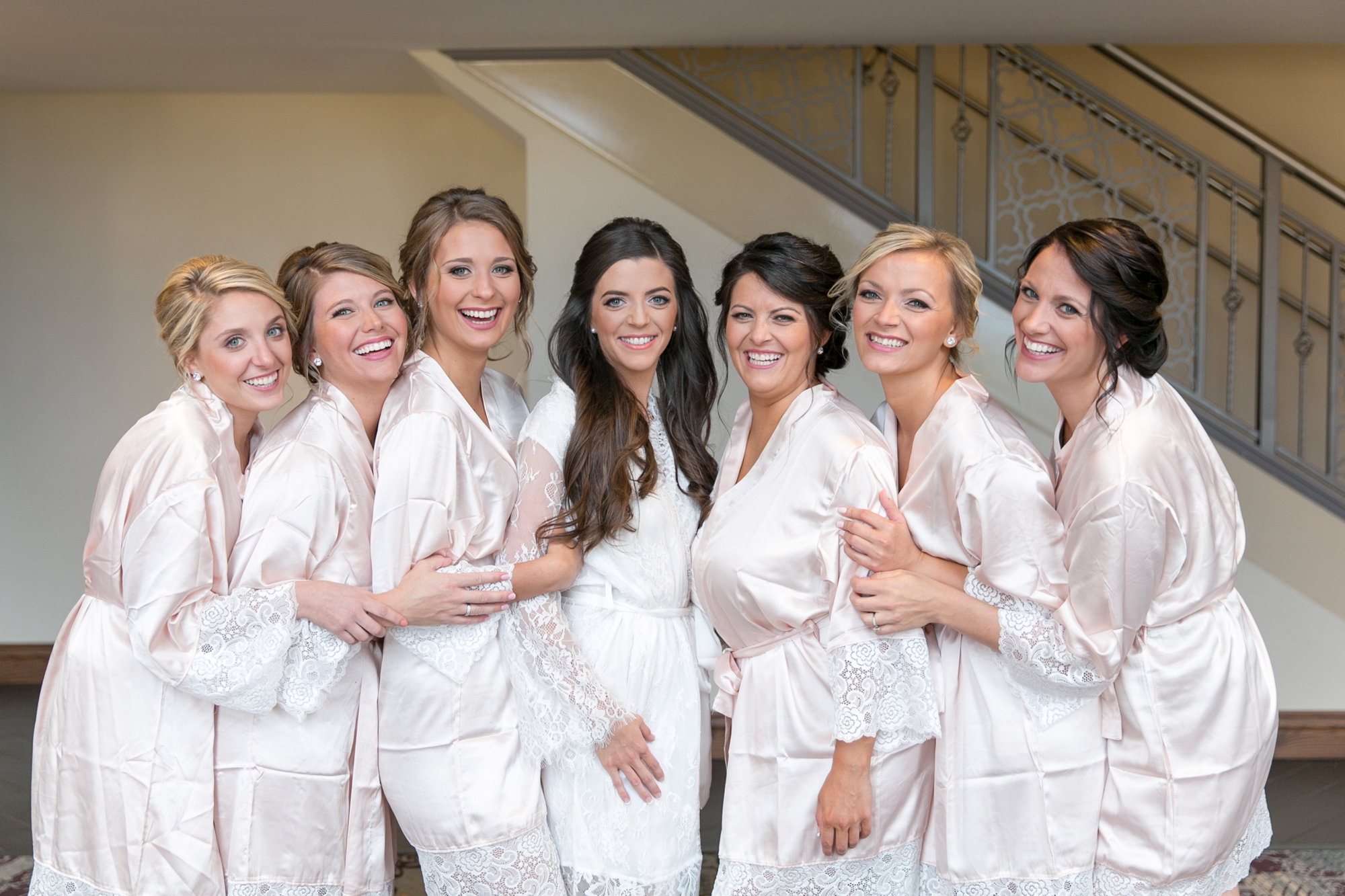 bridesmaids robes pink silk and lace
