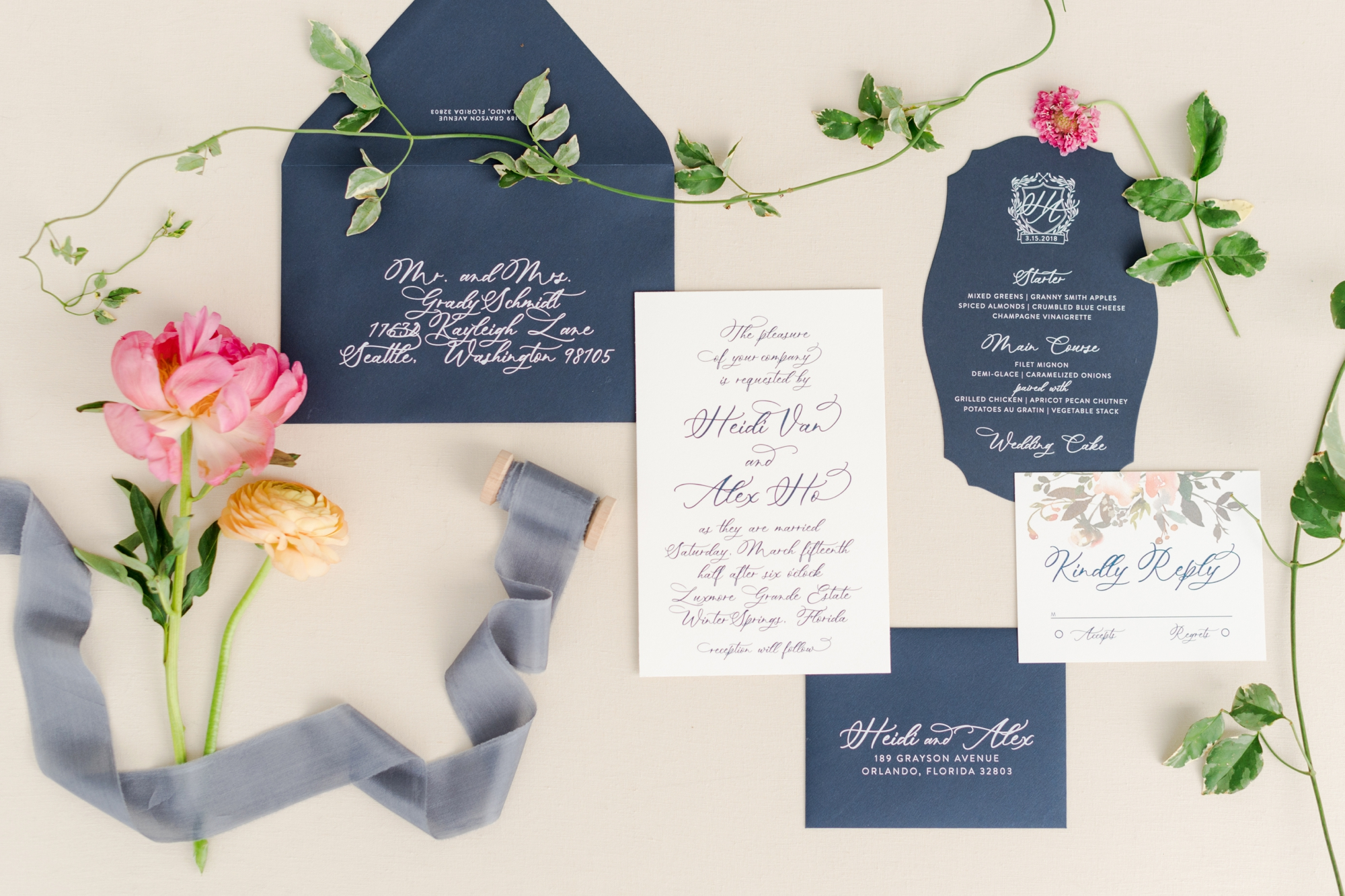 calligraphy stationery for weddings
