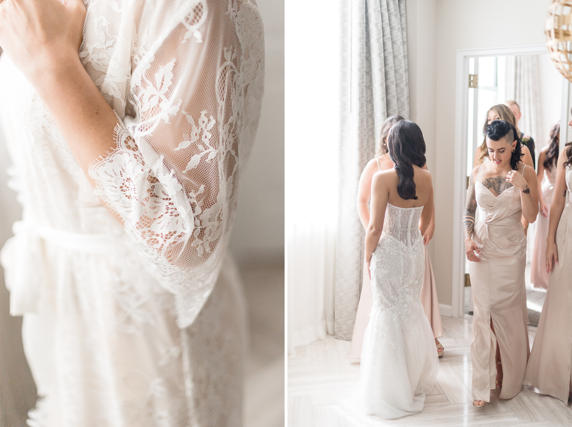 girl and a serious dream bridal robe