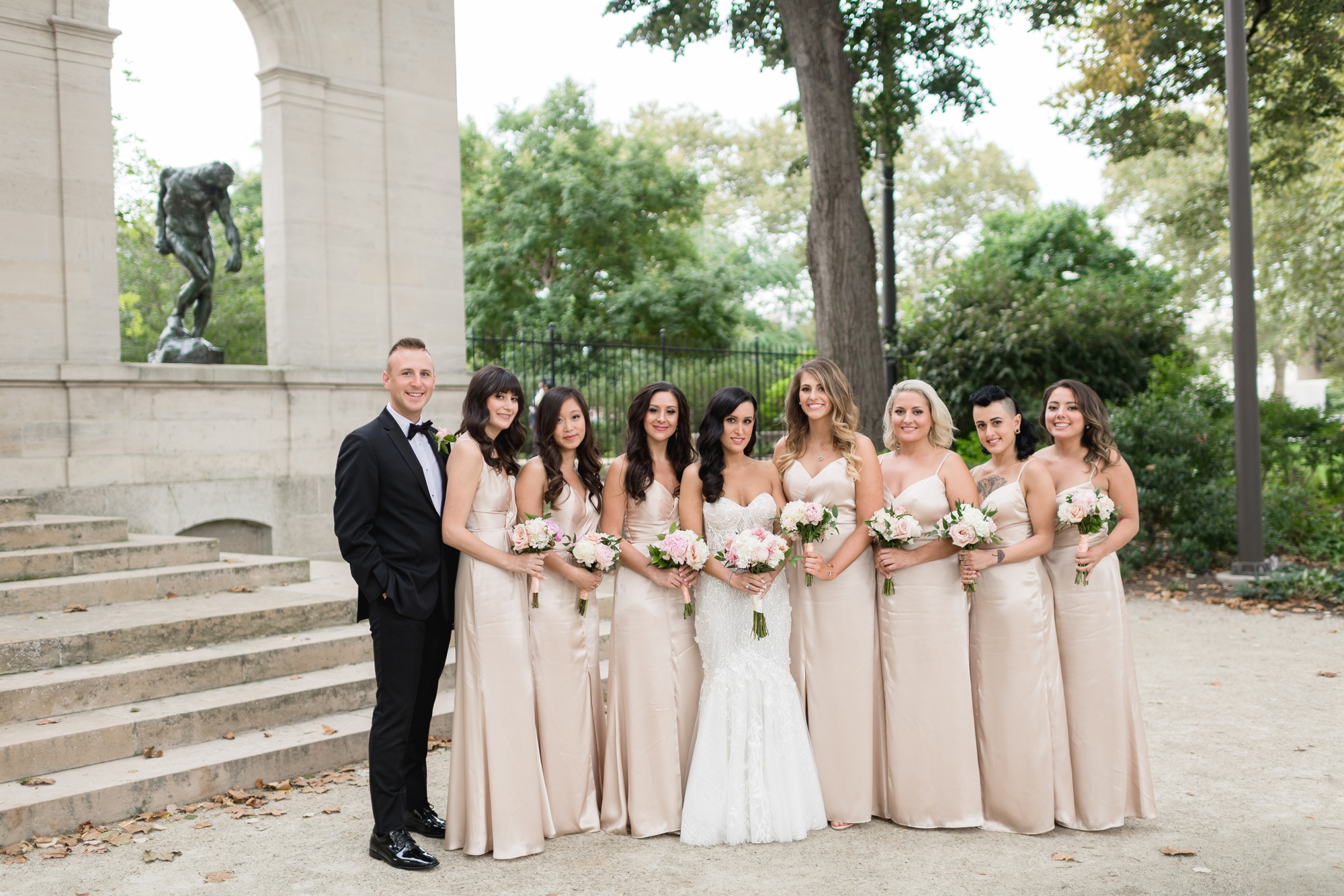 bridesmaids at rodin museum in philadelphia