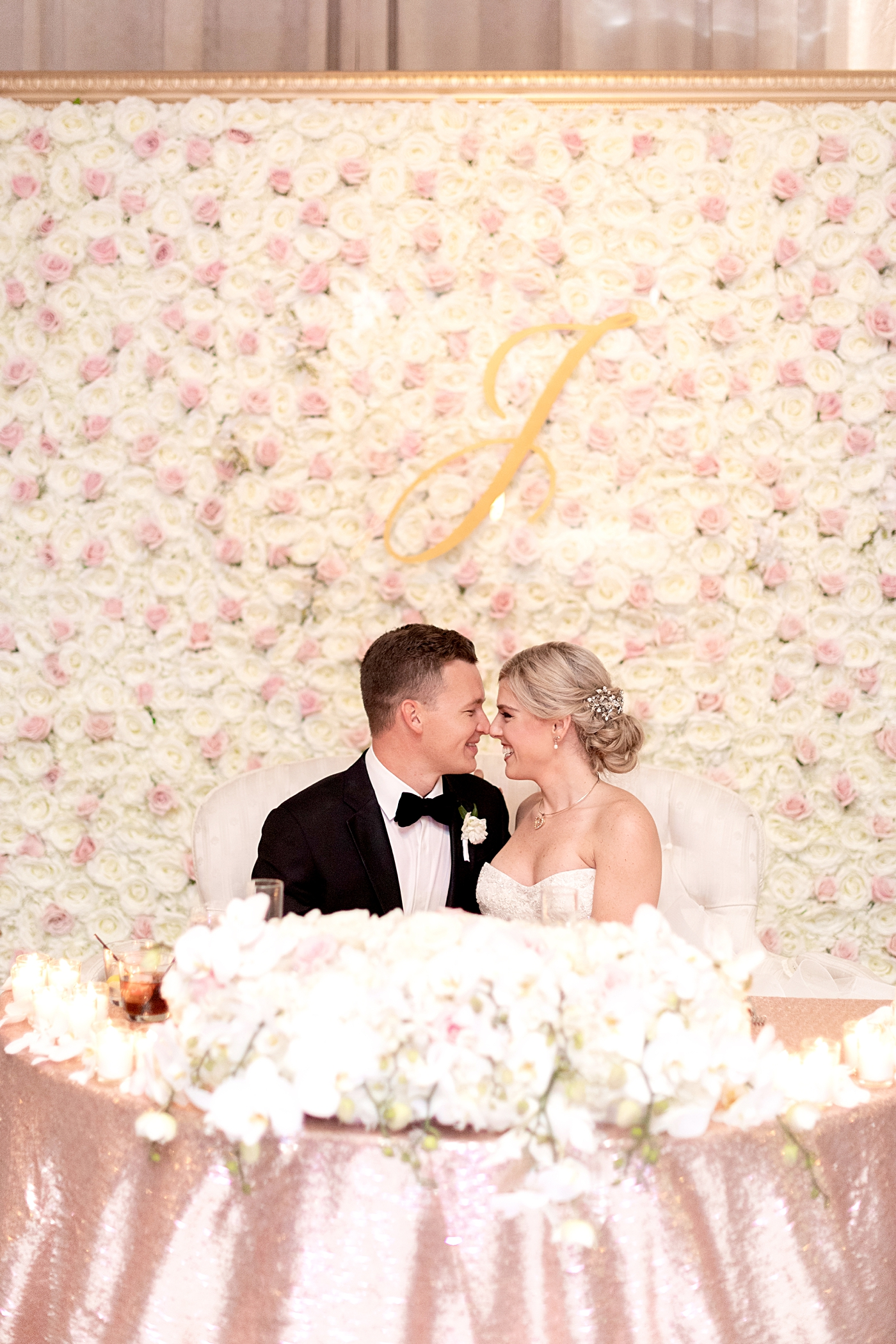 sweetheart table flower wall