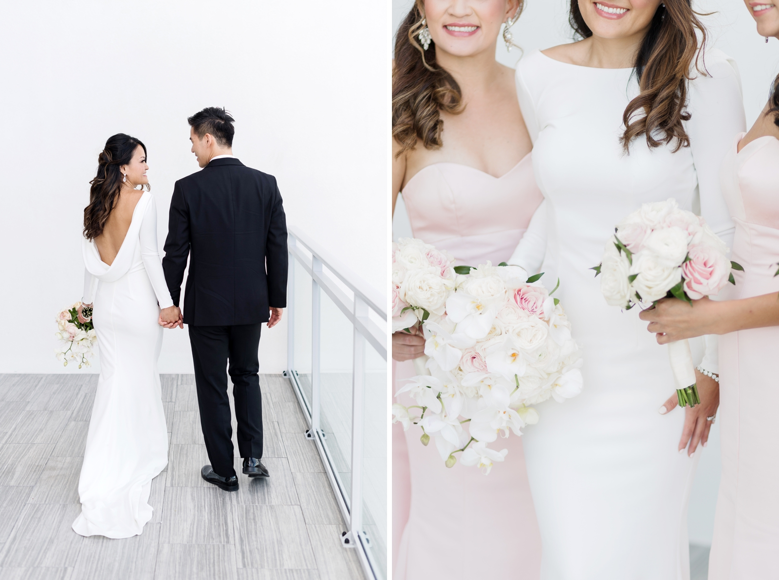 clean white wedding dress draped back