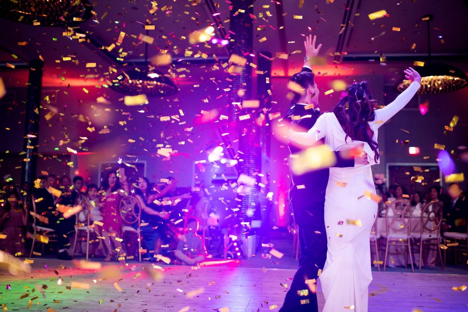confetti cannon at reception