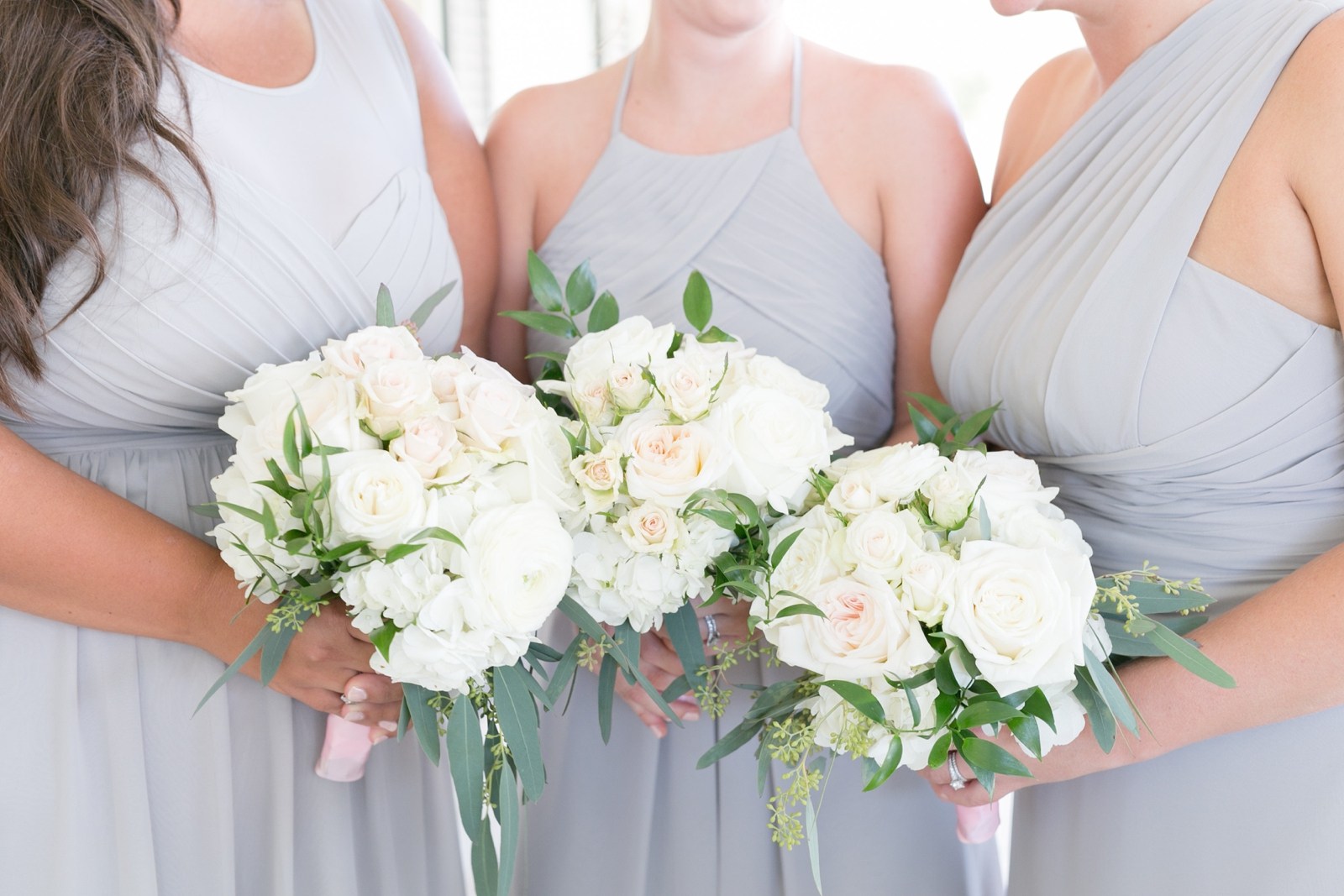 gray and blue bridesmaids dresses