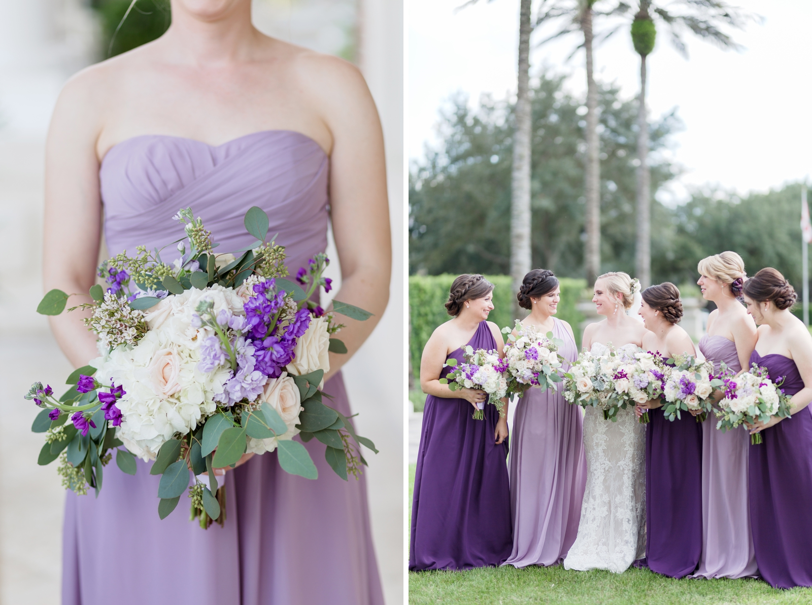 mix and match bridesmaids dresses purple