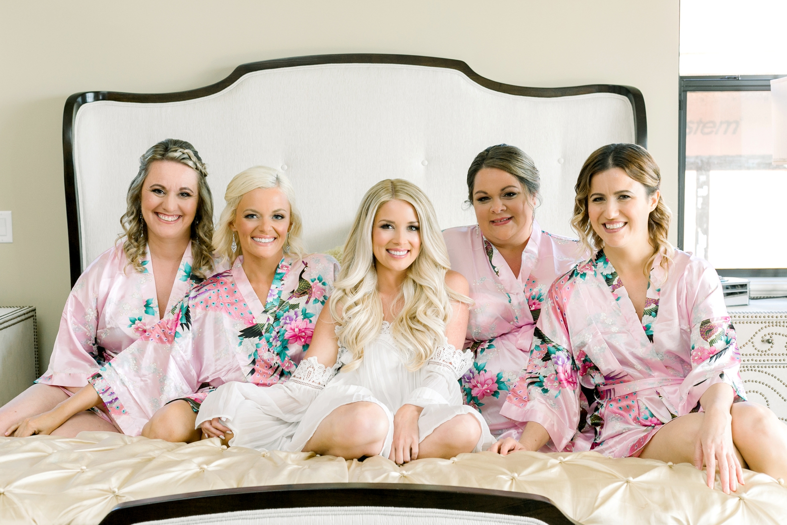 bridesmaids robes pink floral