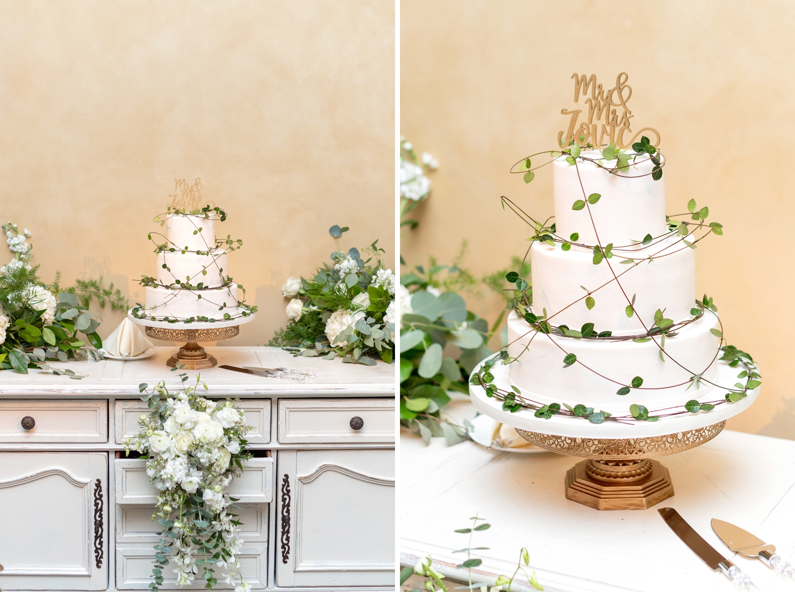 wedding cake white and greenery
