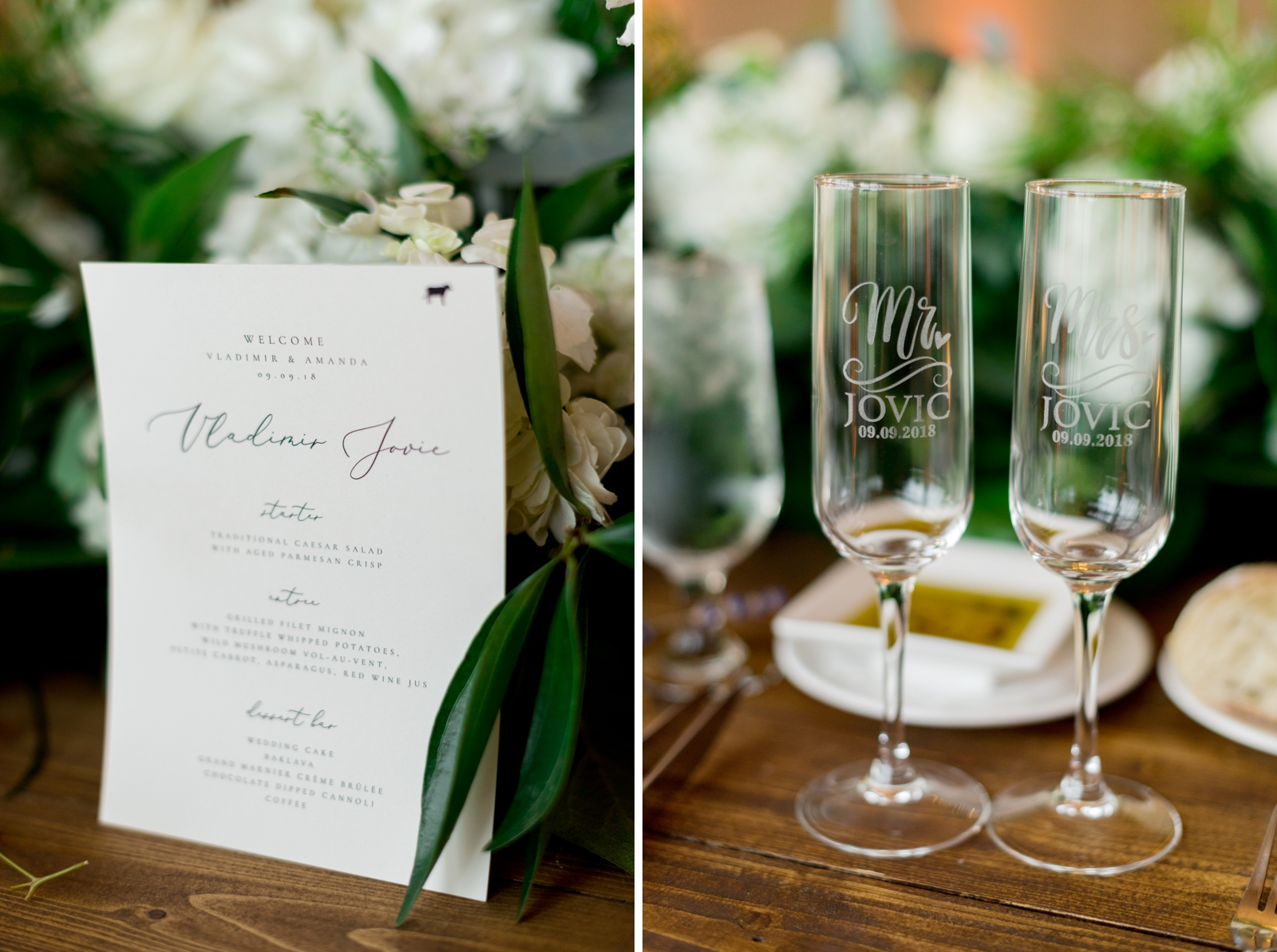 calligraphy personalized menus wedding