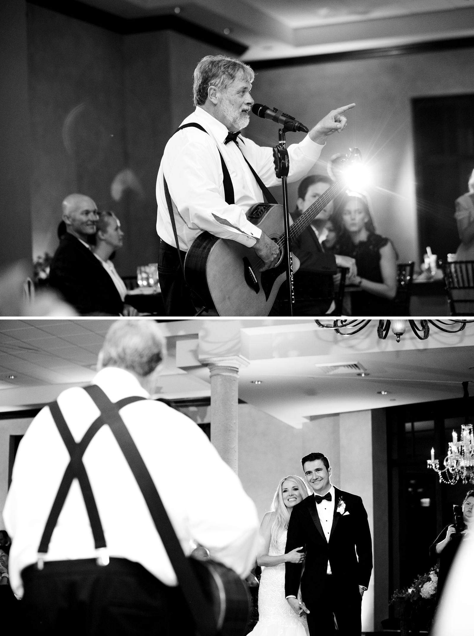 father of the bride sings to couple