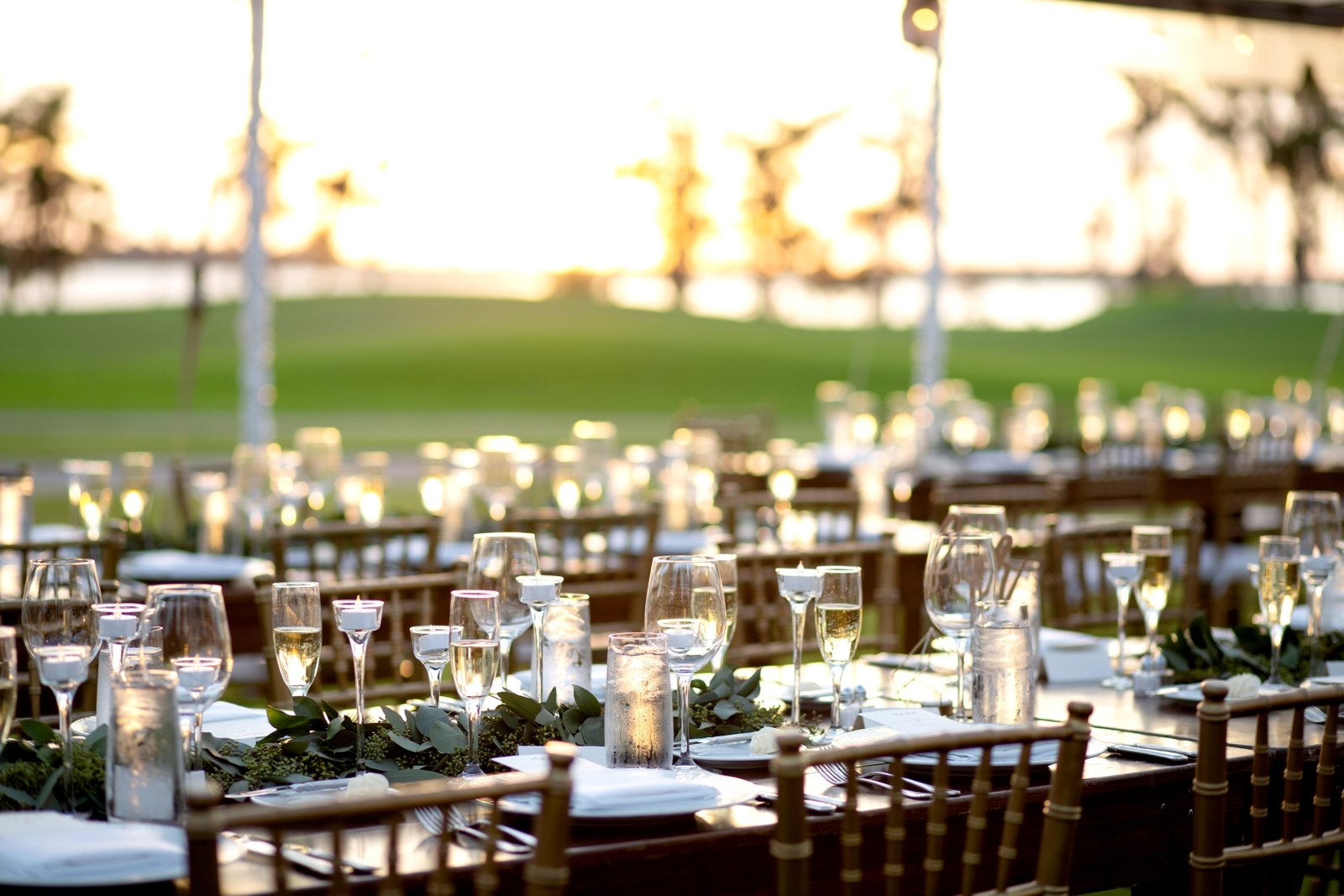 outdoor wedding reception sunset