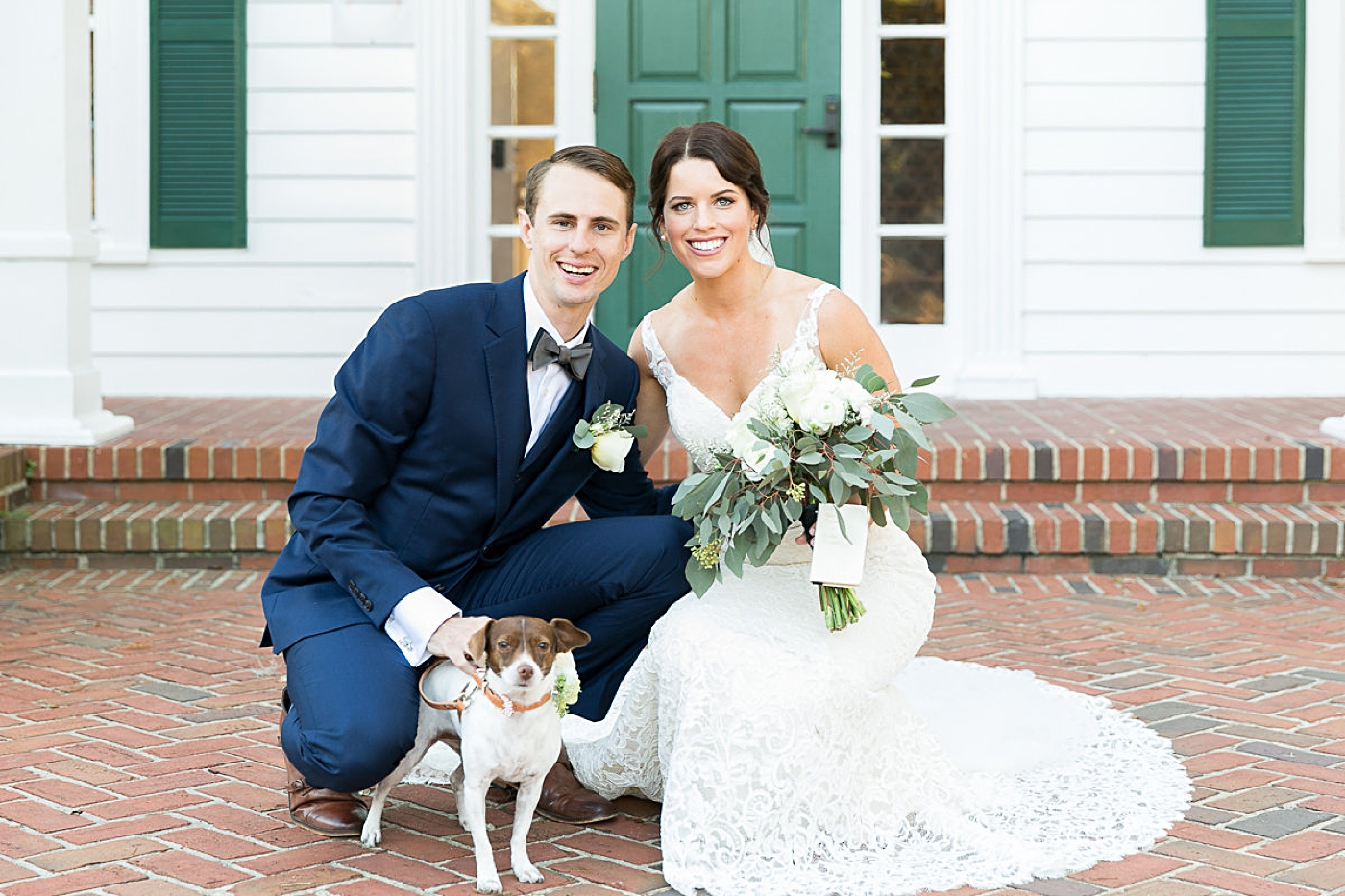 wedding day with puppy