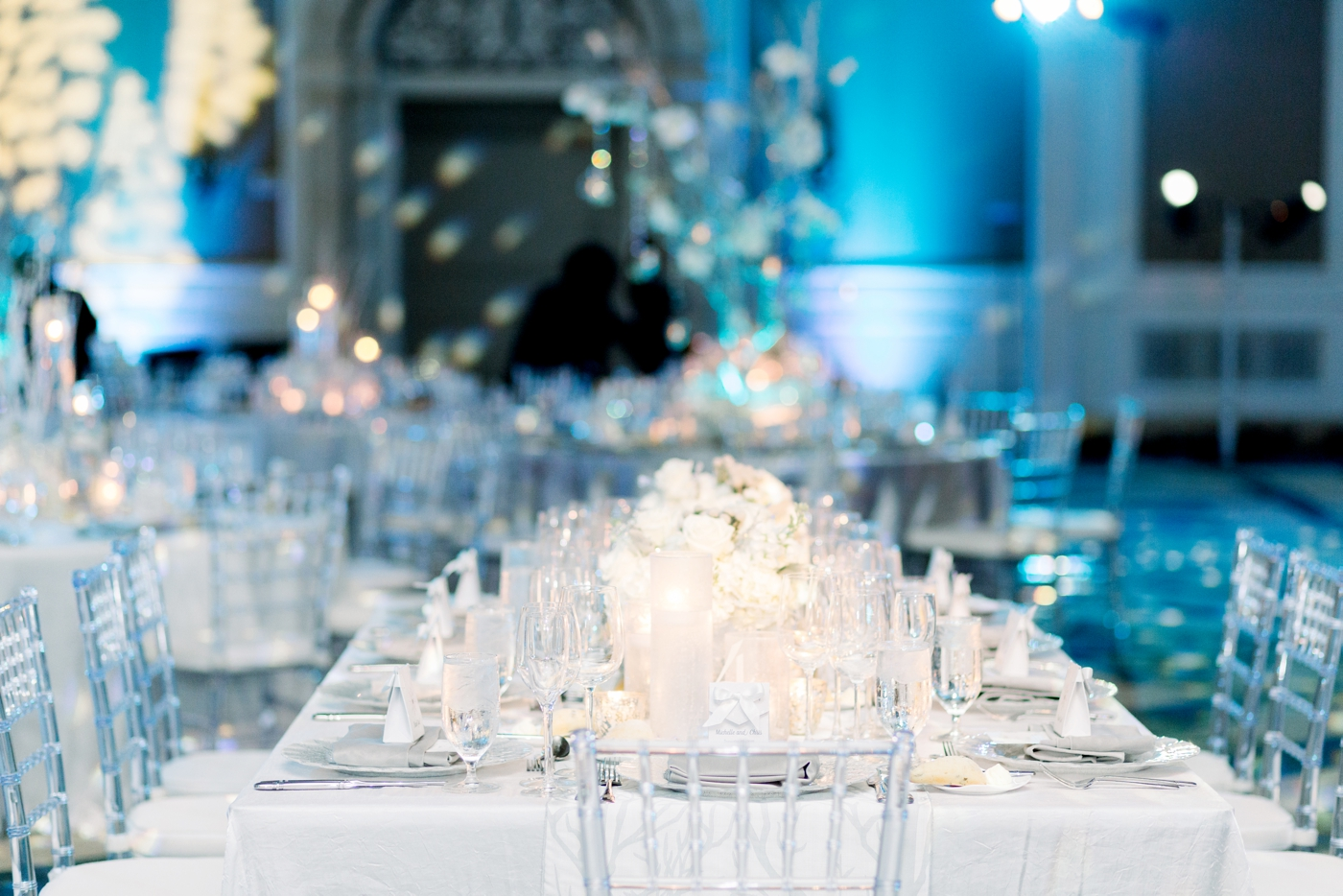 blue wedding reception