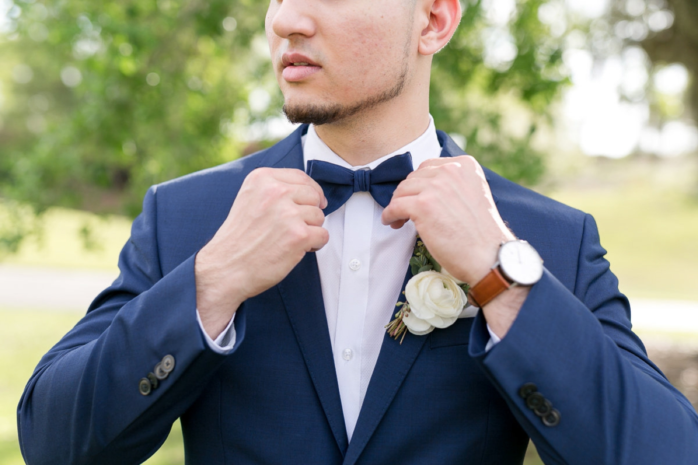 navy blue tuxedo and bowtie