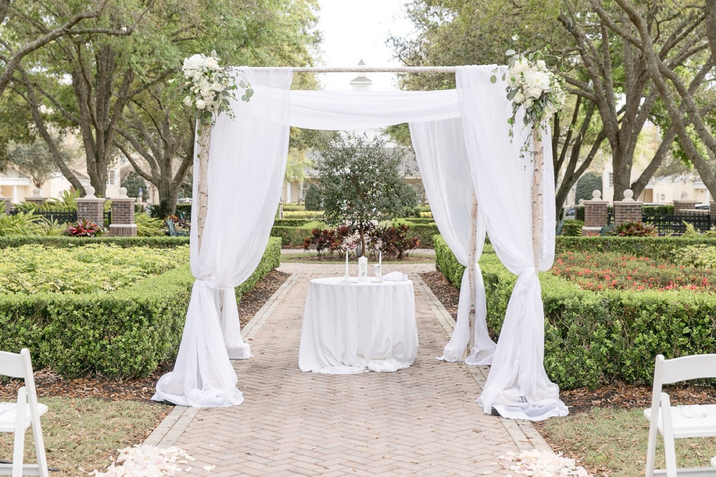 branch chuppah with draping