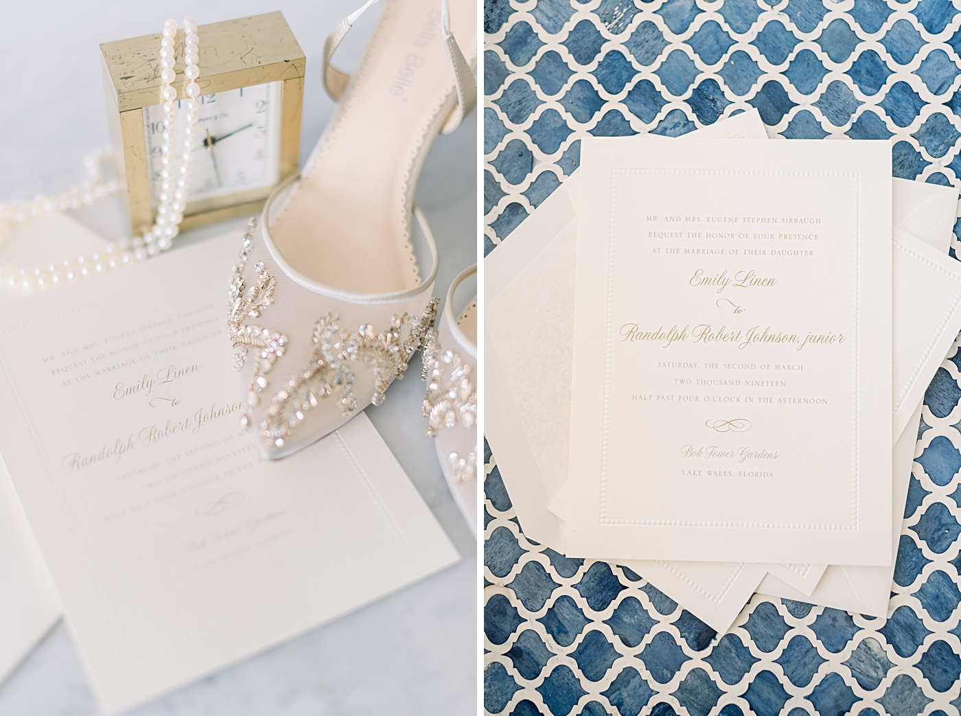 Classic ivory and gold wedding invitation