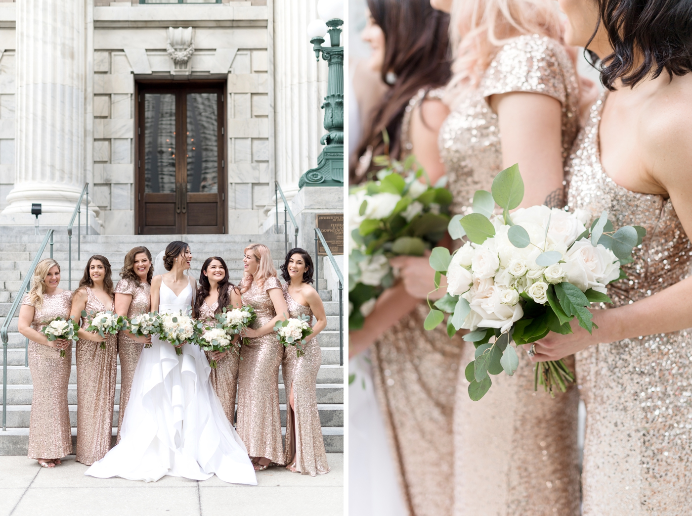 rose gold bridesmaids