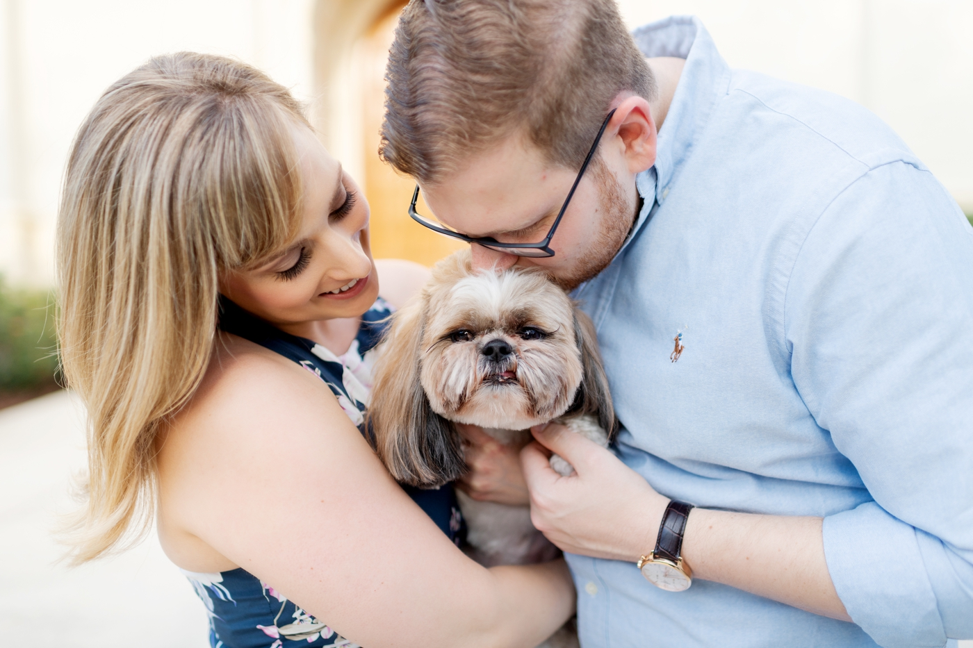 couples photography session with their dog