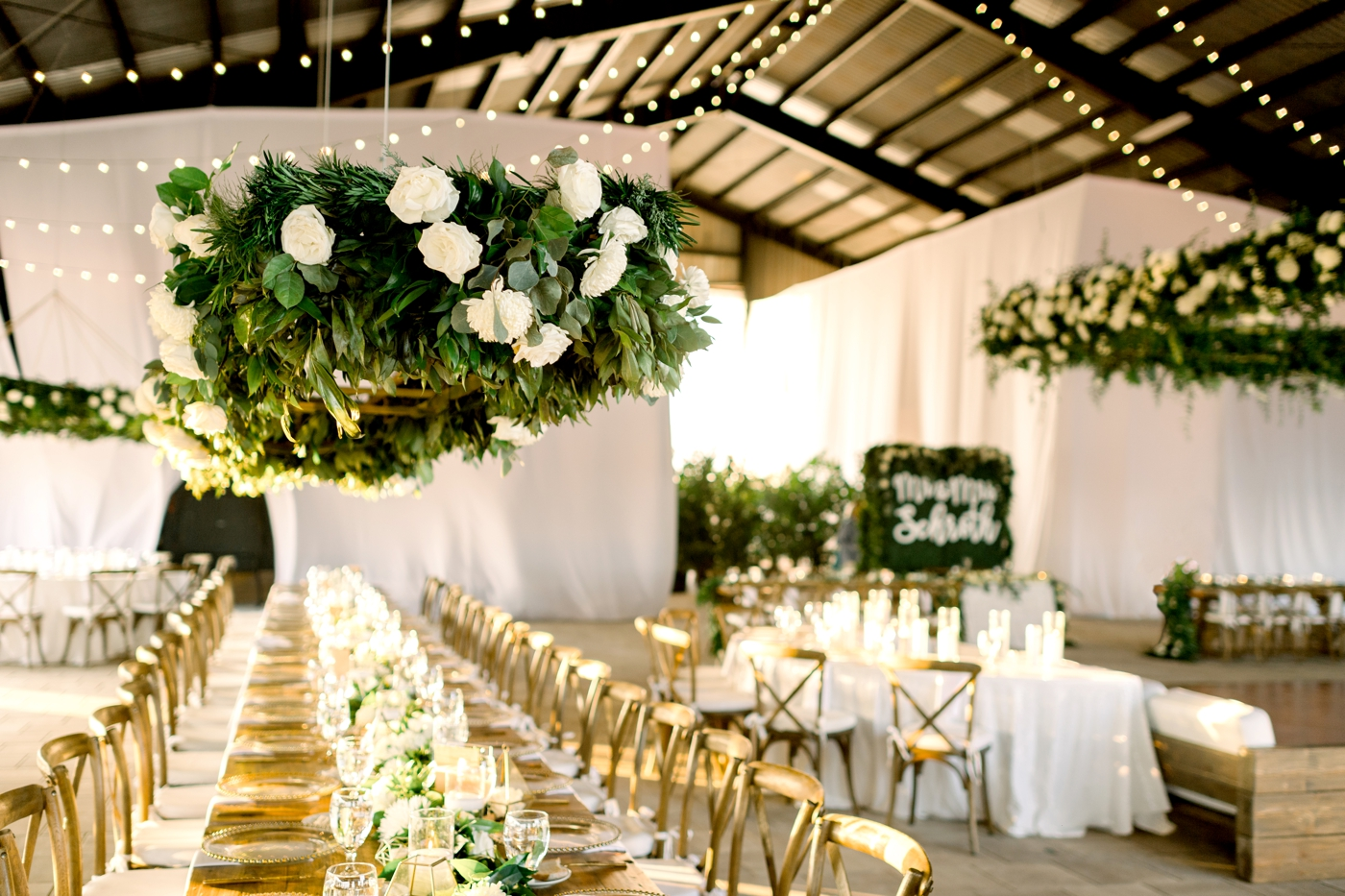 hanging flowers at reception