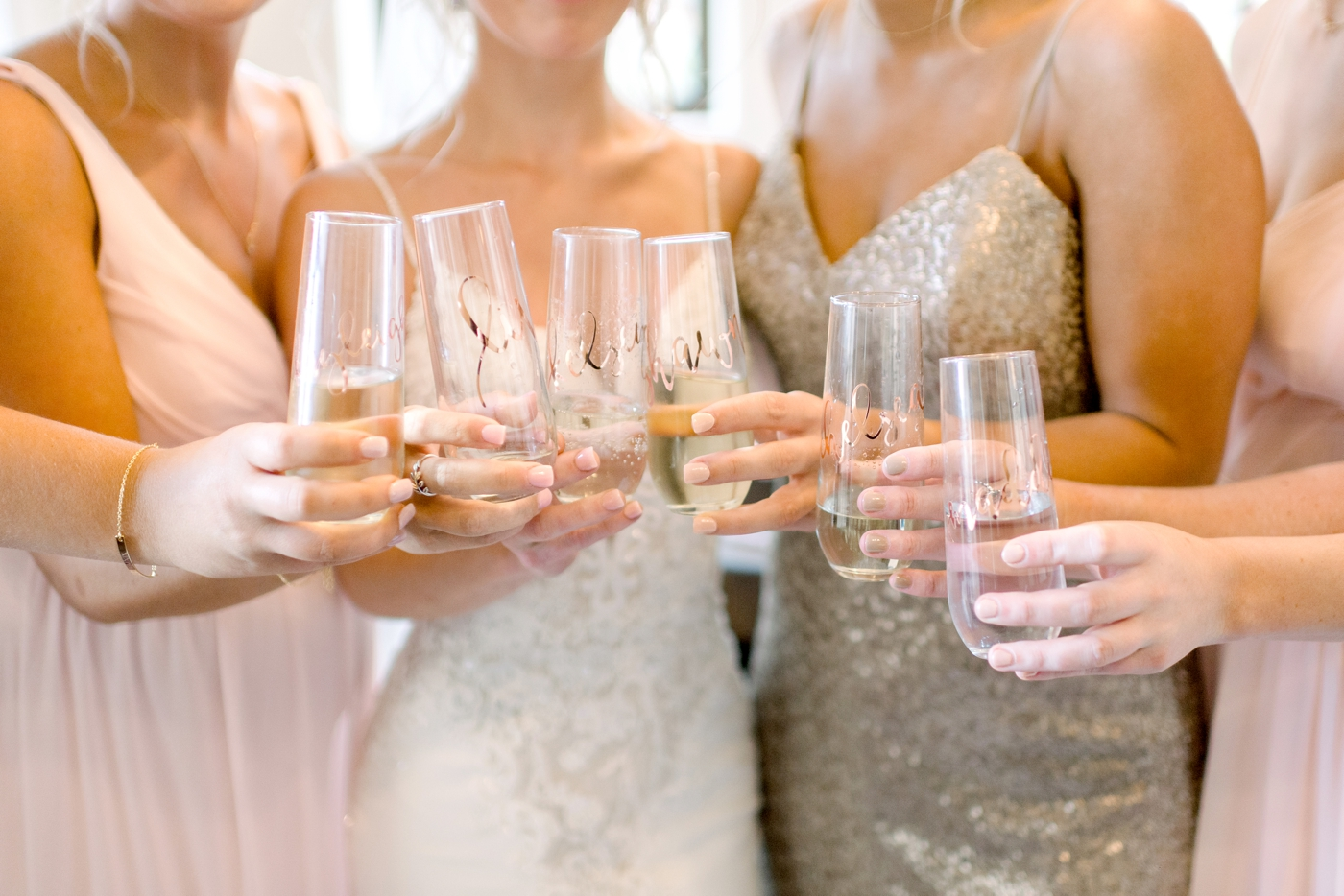 rose gold stemless champagne glasses
