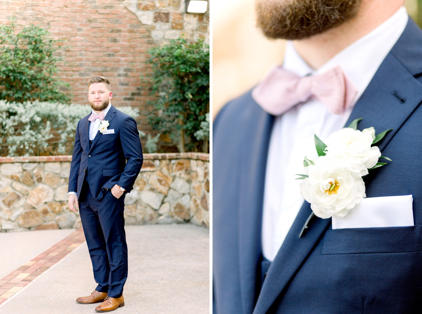 white groom boutonniere