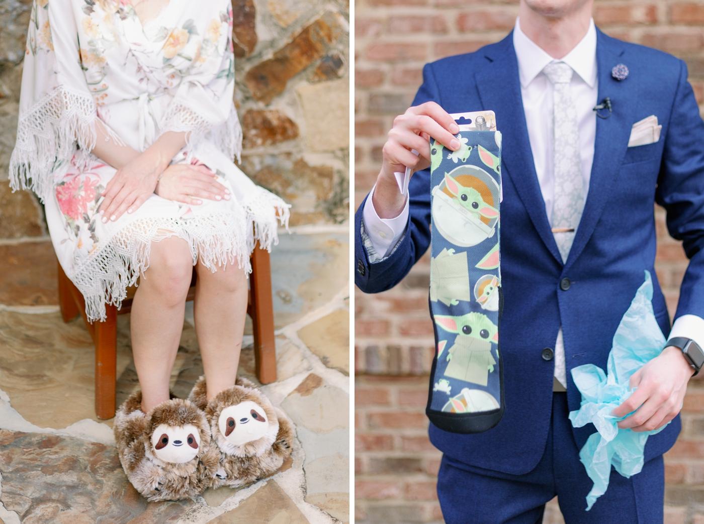 sloth slippers and baby yoda socks
