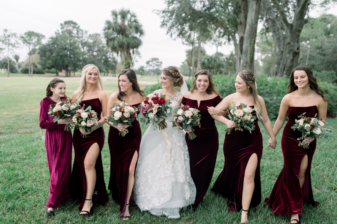 red bridal party wedding
