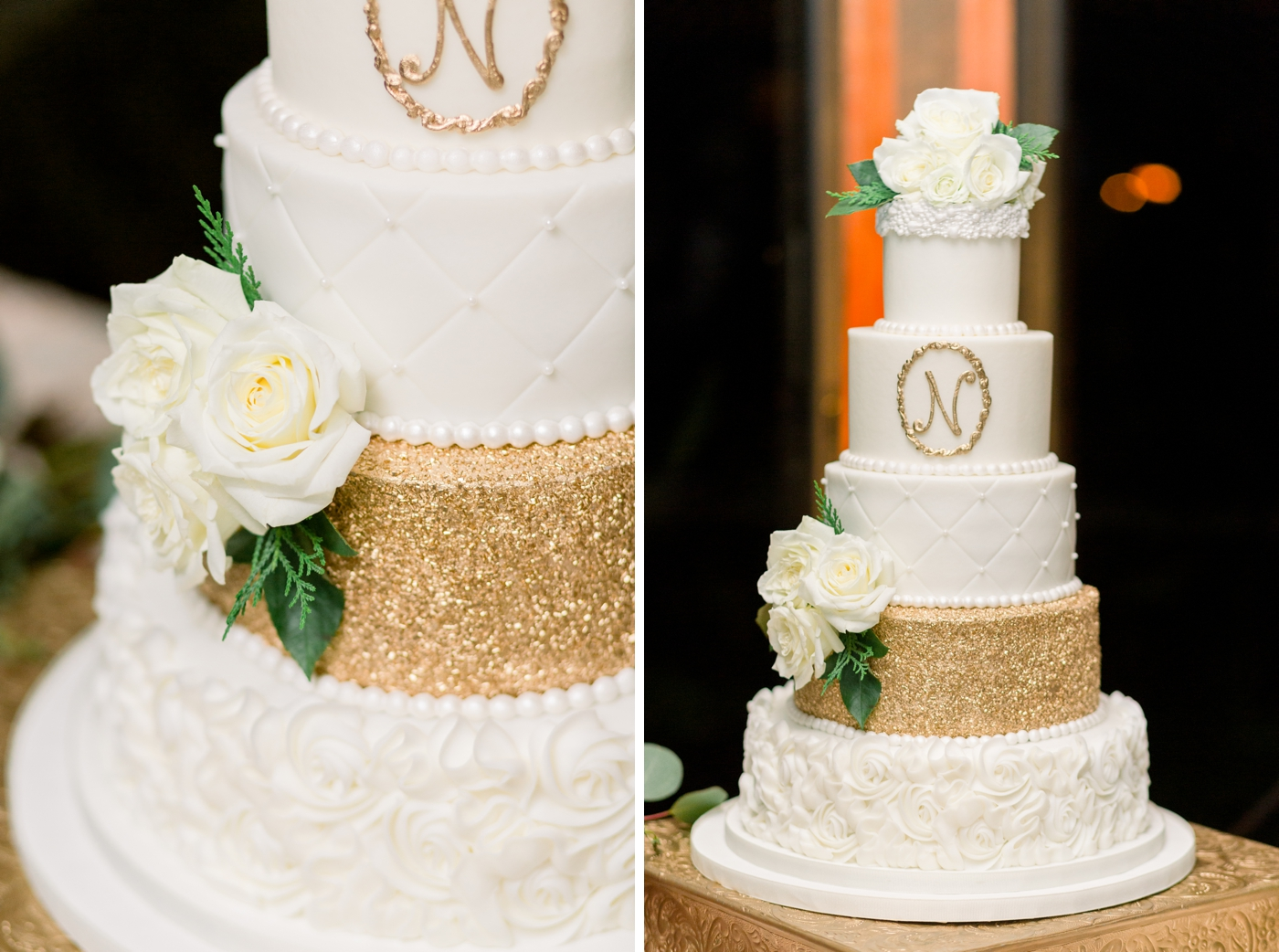 gold wedding cake orlando