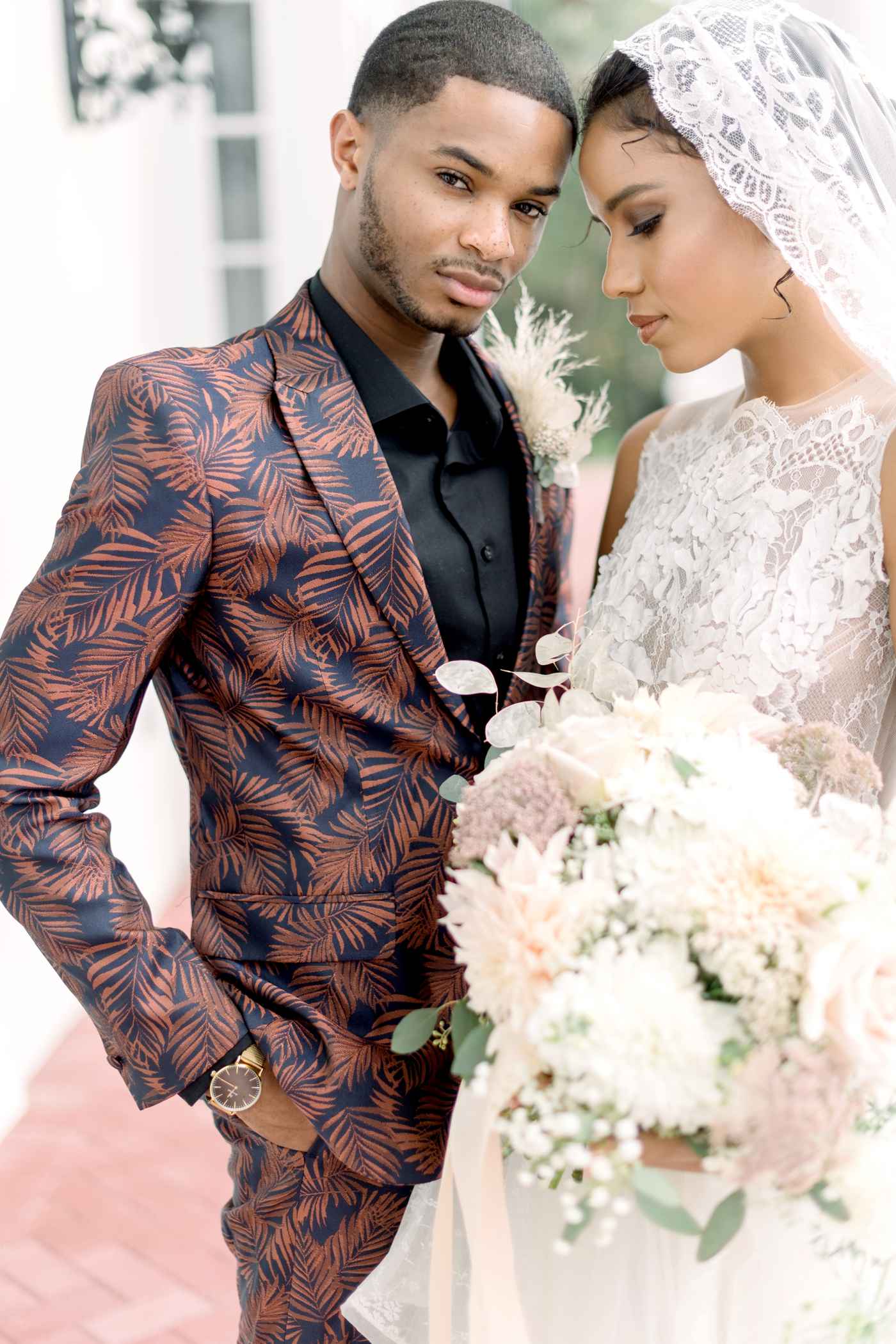 stylish groom attire patterned tux
