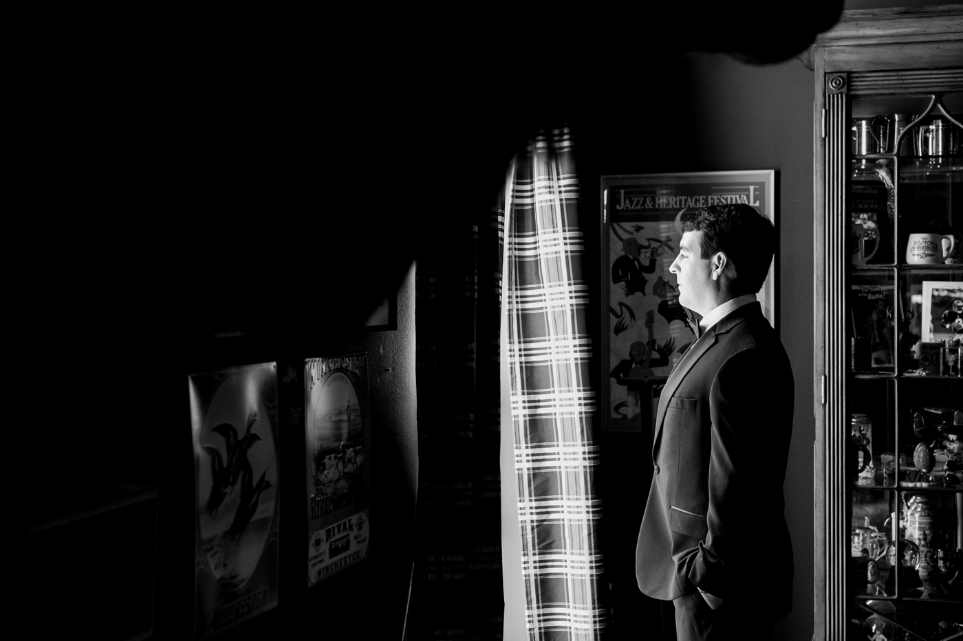 black and white groom photography