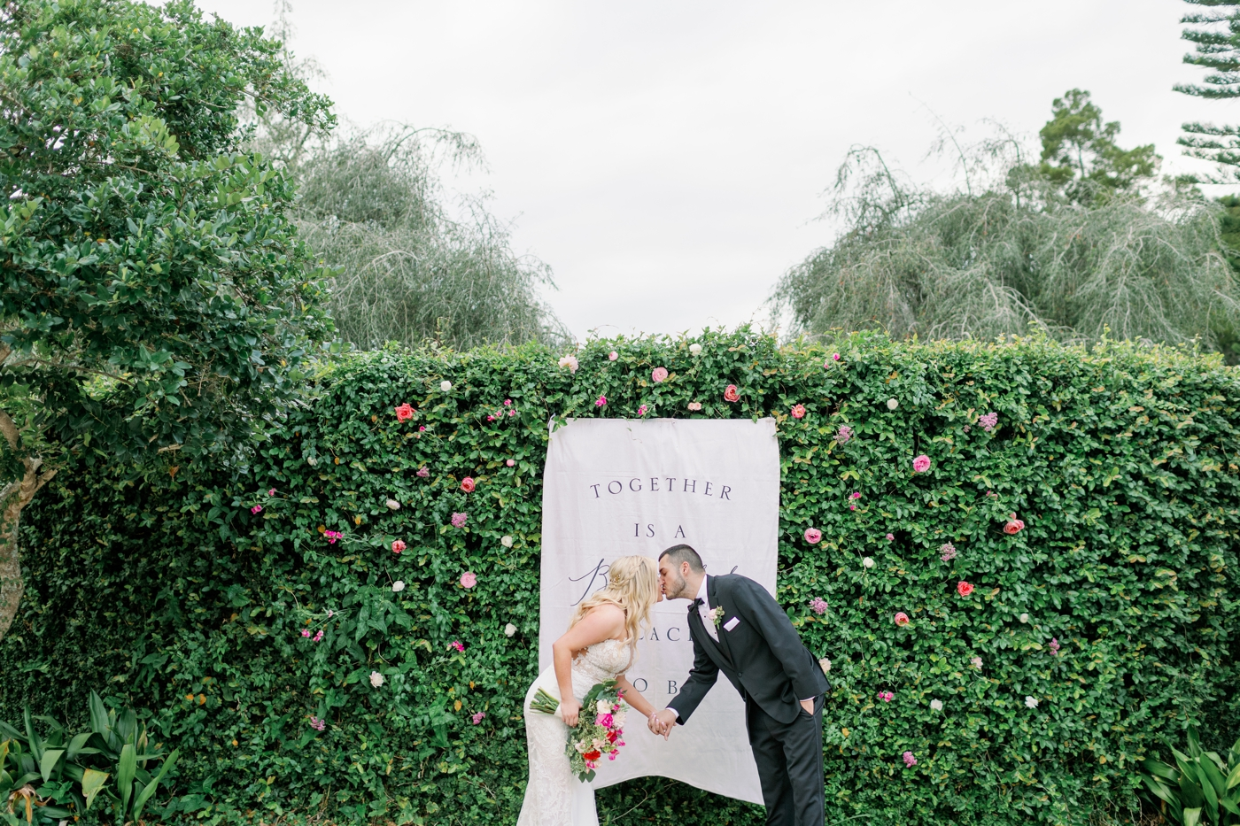 rose wall wedding