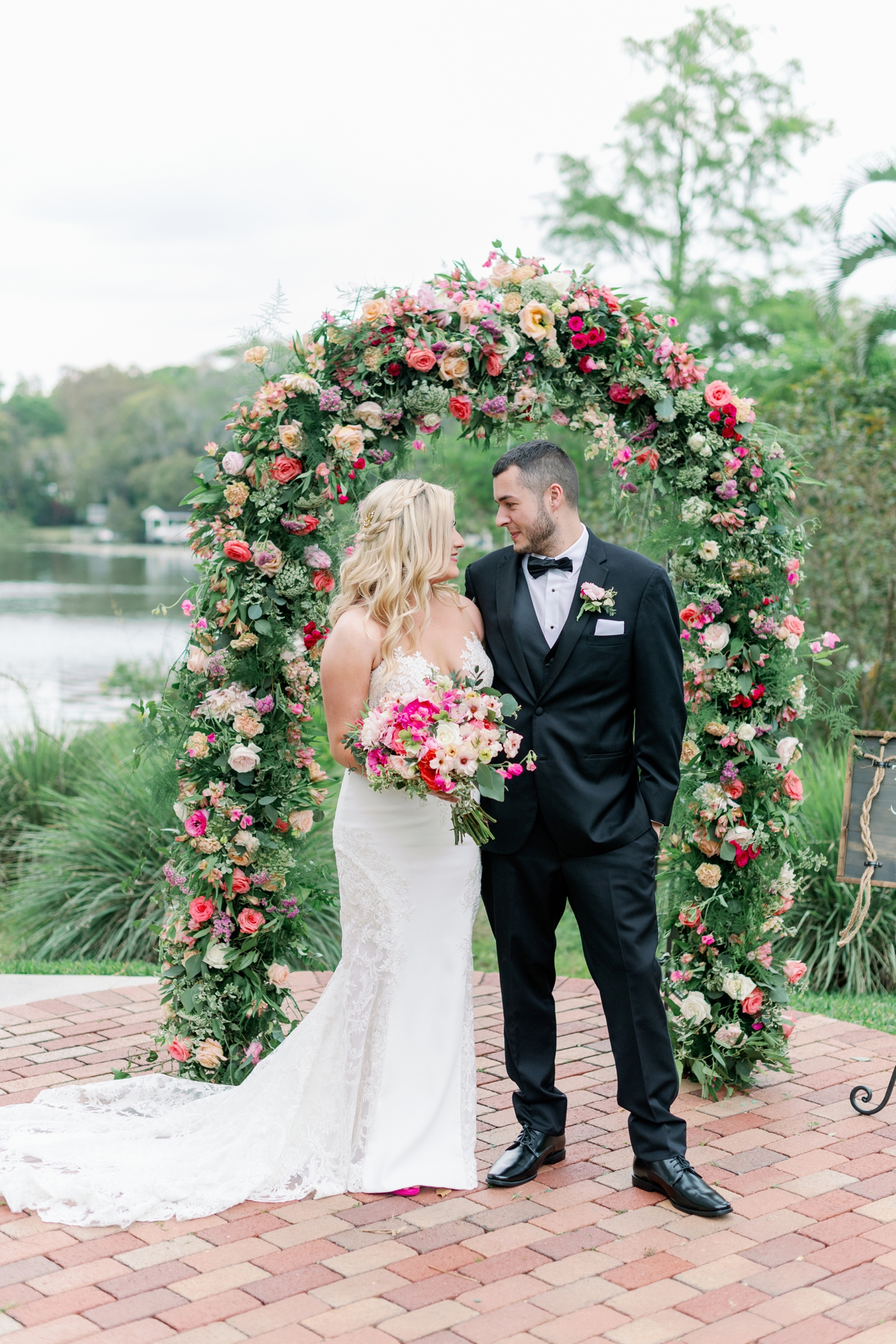 floral wedding arch photography